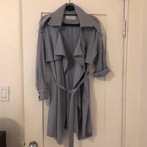 Jackets & Blazers - Dusty Blue Soft Midi Length Trench One Size